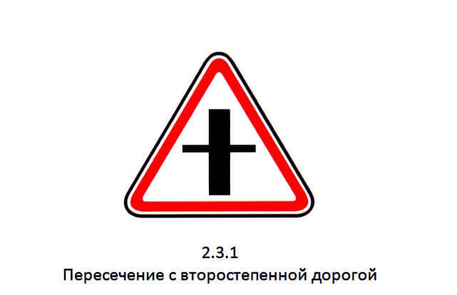 Знак 2.3.1 Пересечение с второстепенной дорогой, какая может быть ответственность водителя за нарушение ПДД