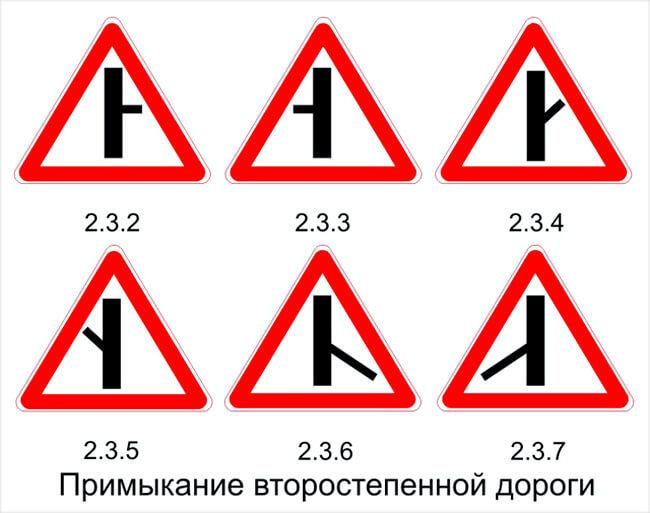 Дорожные знаки примыкание к второстепенной дороге