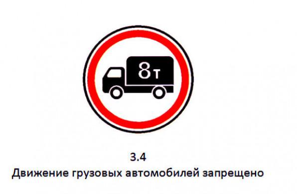 Знак 3.4 Движение грузовых автомобилей запрещено